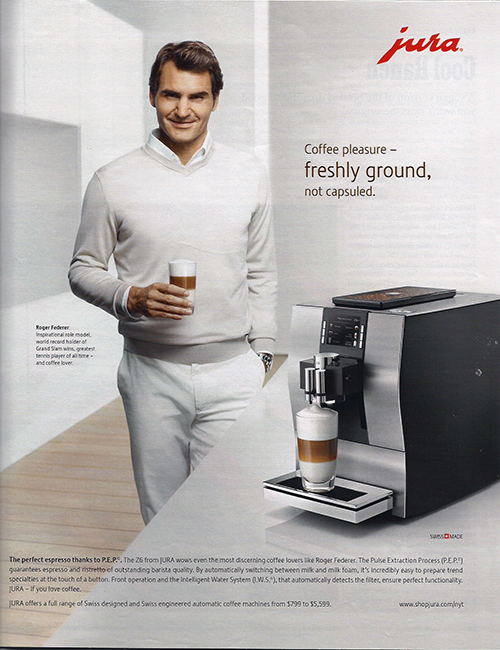 Jura ad featuring Roger Federer